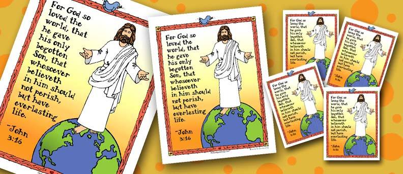 BAPTISM, FOLLOW JESUS: Bite-size Memorize Scripture Poster and Mini-lesson, John 3:16, sharing time, family home evening, LDS Primary helps, gospelgrabbag.com