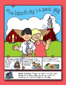 SABBATH DAY: Primary Nursery Lesson 8, Sunbeam Lesson 15, Sunday Is a Day to Remember Heavenly Father and Jesus Christ, Sunday Savers book or CD-ROM, gospelgrabbag.com, Primary Lesson Helps