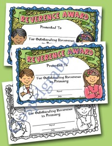 $0.75 - Reverence: LDS Lesson Activity - Reverence Award certificate, Primary, Primary Sharing Time, Singing Time, gospelgrabbag.com