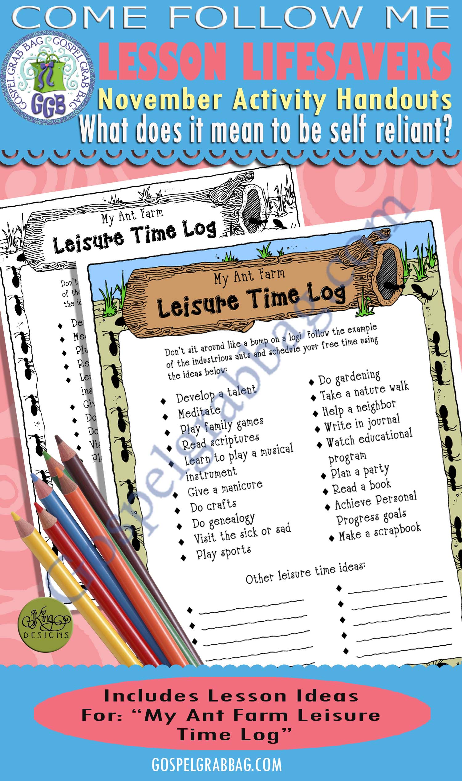 "$1.75 November Lesson 1 - Come Follow Me ""What does it mean to be self-reliant?"" ACTIVITY: My Ant Farm Leisure Time Log"