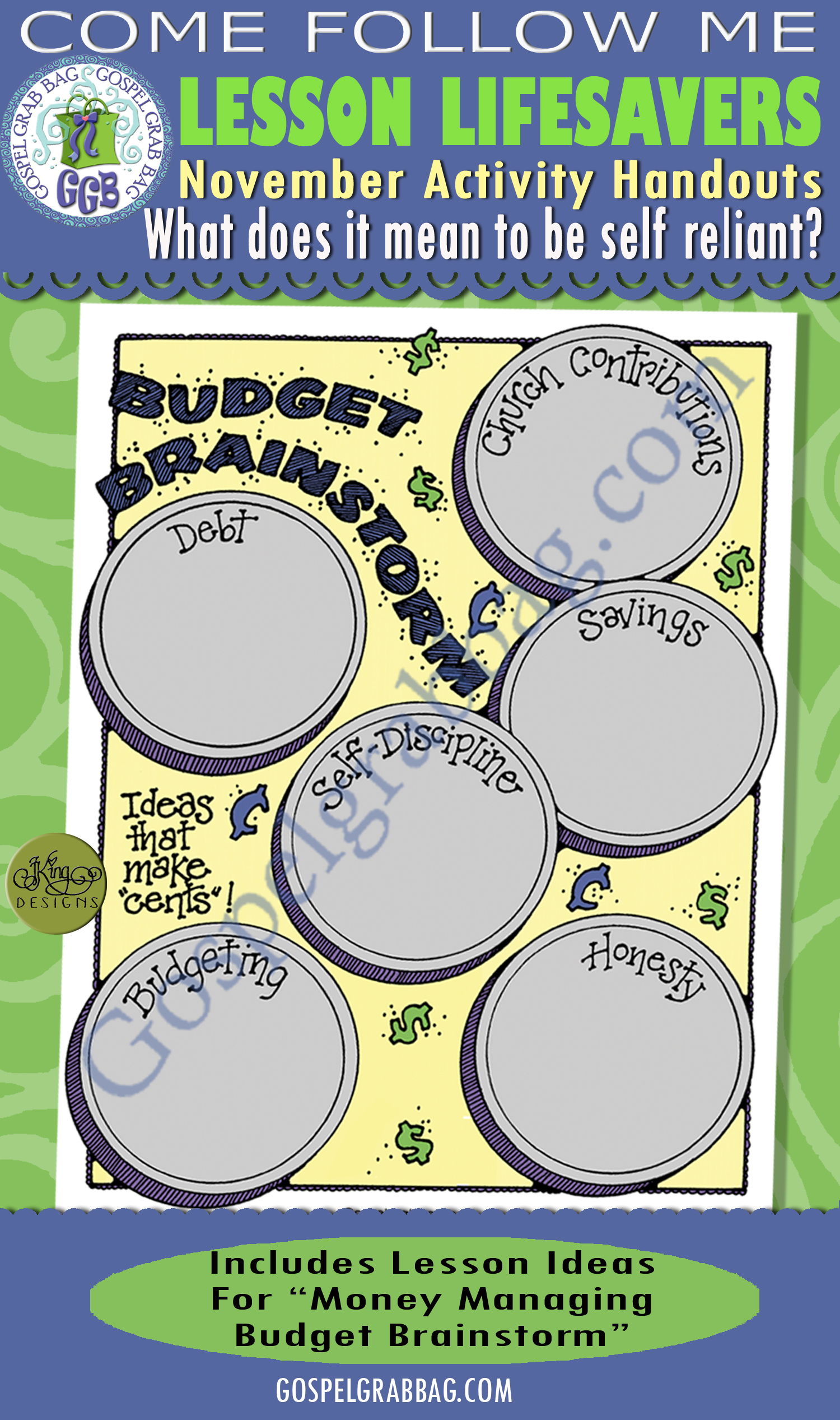 $1.75 or BUNDLE: Come Follow Me November Lesson: What does it mean to be self-reliant? ACTIVITY: Managing Money - Budget Brainsorm planner, LDS printables, GospelGrabBag.com