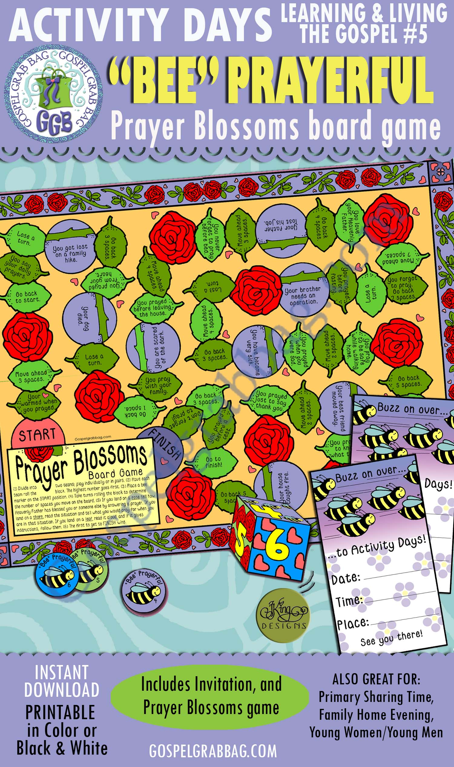 PRAYER: Activity Days: Learning and Living the Gospel, Goal 5 Invitation, Activity: Prayer Blossoms board game
