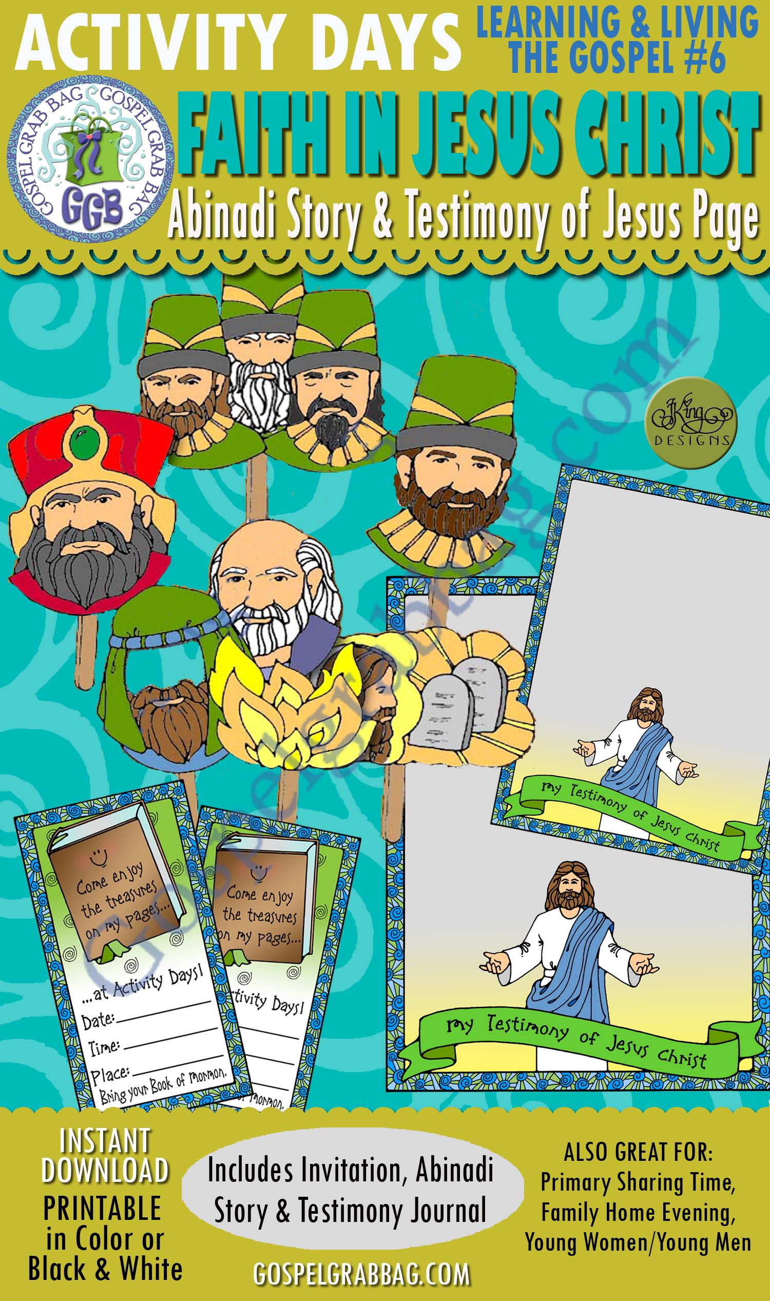 BOOK OF MORMON Testimony of Jesus Christ: Activity Days: Learning and Living the Gospel, Goal 6 Invitation, Activity: Abinadi Warns Wicked King Noah puppet show, and Testimony of Jesus journal page, GospelGrabBag.com