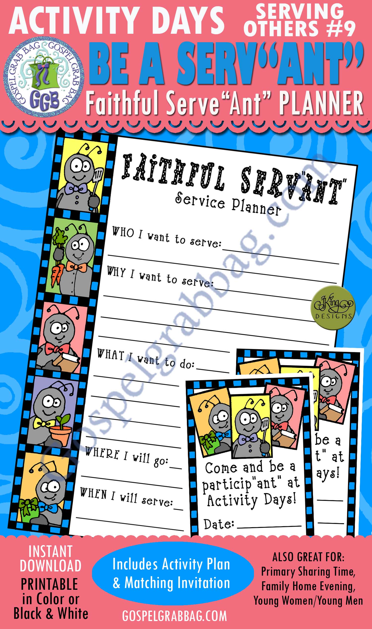 "$3.00 SERVICE: Activity Days: Serving Others, Goal 10 Invitation, Activity: Faithful Serv""ant"" Service Planner, GospelGrabBag.com"