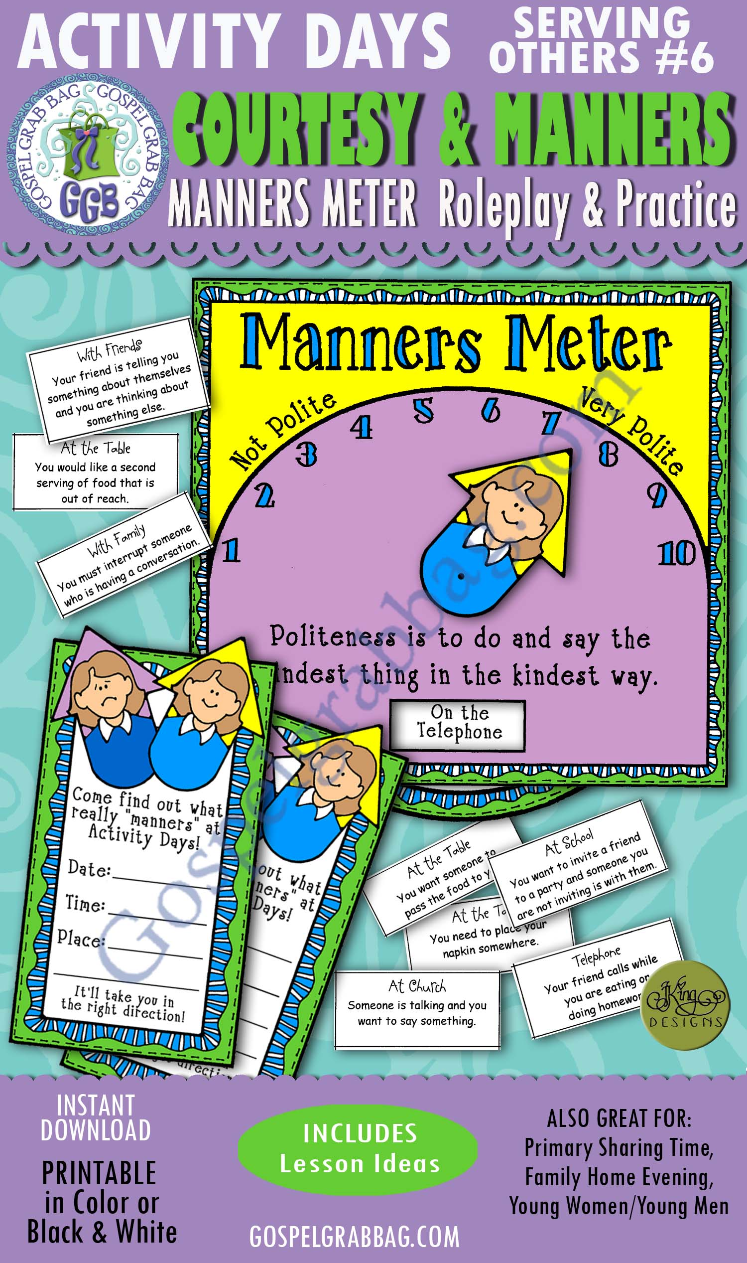 $3.00 Activity Days: Serving Others - Faith in God GOAL 6: Courtesy and Manners - ACTIVITY: Manners Meter Roleplay and Practice, GospelGrabBag.com