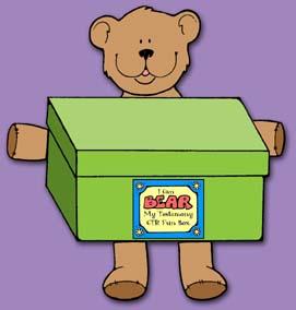CTR ACTIVITY BOX: Primary CTR-B, Lesson 1, Bear My Testimony CTR Fun Box to store lesson handouts for CTR-B class, Primary 3 manual, primary lesson helps, family home evening, Sunday Savers book or CD-ROM, gospel grab bag, gospelgrabbag.com