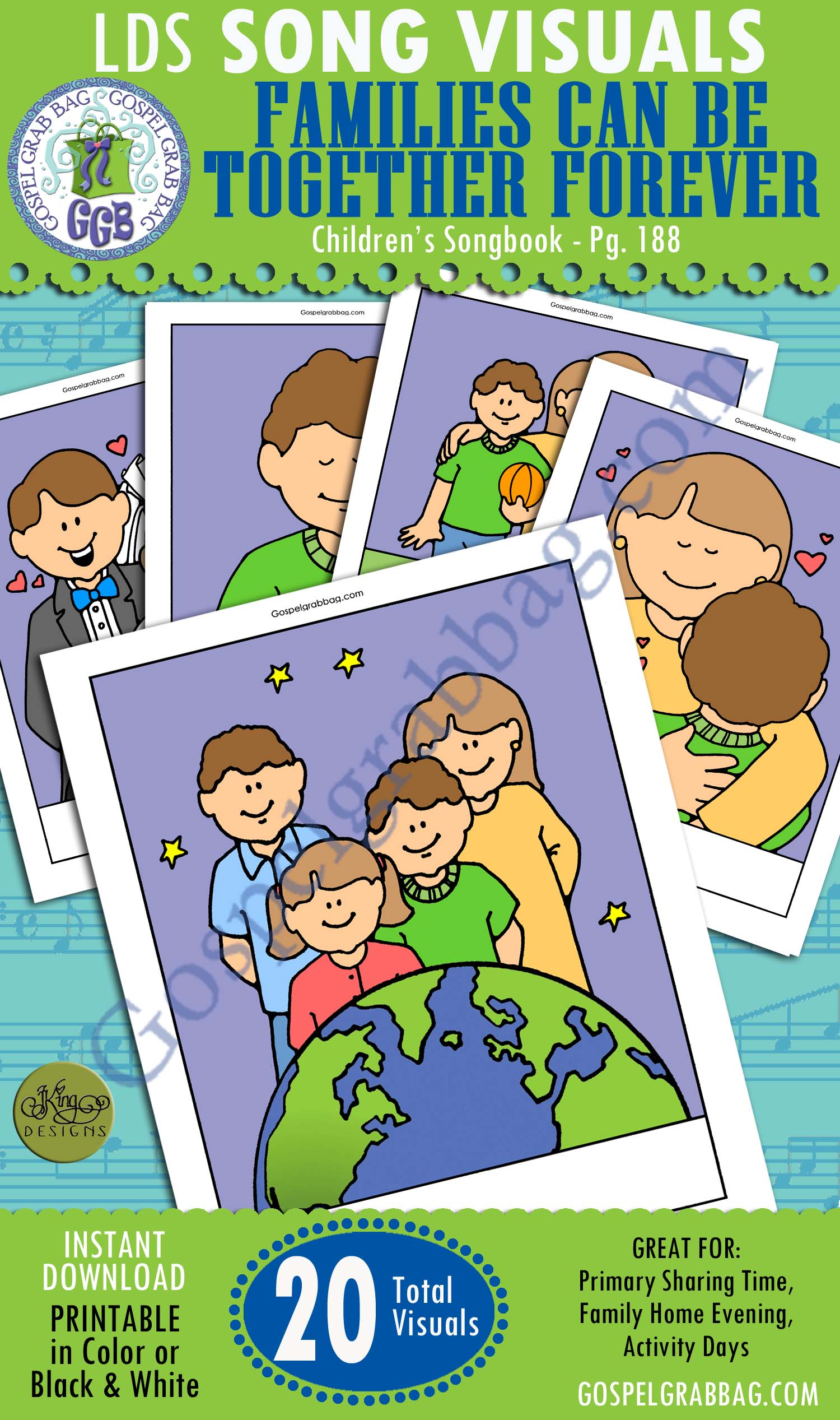 FAMILIES CAN BE TOGETHER FOREVER: Primary Song Visuals to print in color, ready-to-use – Illustrated by Jennette Guymon-King, Author, Mary H. Ross, music leaders use visuals – practice songs - Singing Time Visuals to DOWNLOAD