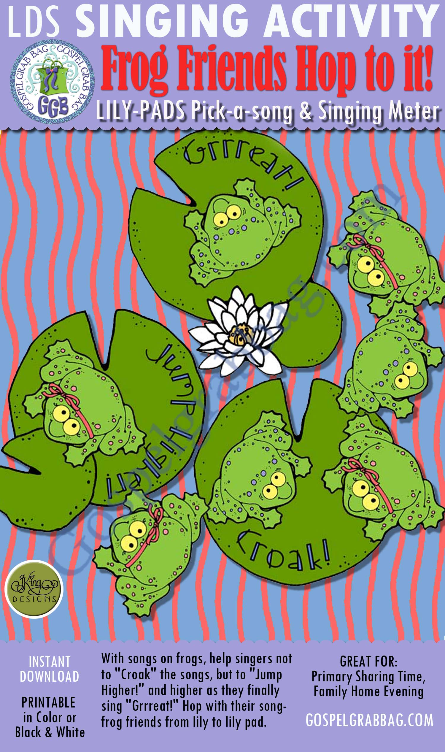 $3.00 FROG FRIENDS HOP TO IT! Lily-pads pick-a-song and singing meter: Primary Music Singing Time Activities to Motivate Children to Sing, download from GospelGrabBag.com