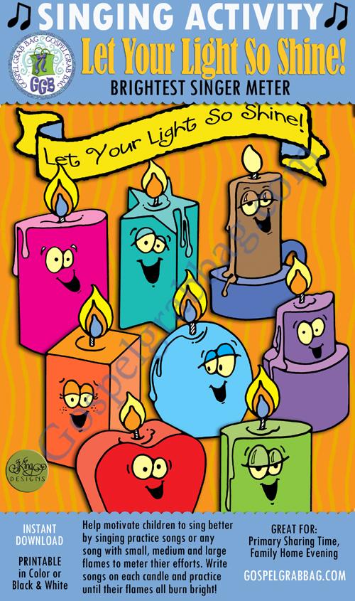 $3.00 Primary Music - Singing Motivators: Let Your Light Shine! Singing Meter and Pick-a-Song instant download printables, GospelGrabBag.com