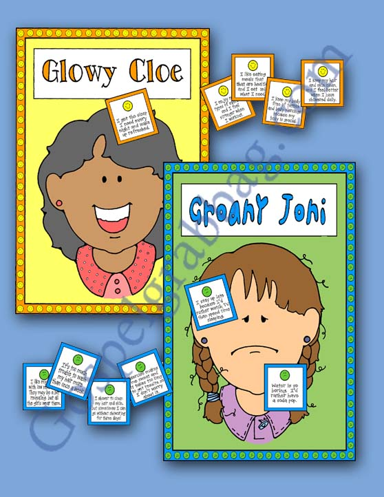 "DO I GROAN OR GLOW PIN CHOICES ON GROANY JONI OR GLOWY CLOE – Activity for November ""Come, Follow Me"" Young Women – Theme: ""Spiritual and Temporal Self-Reliance"" – Lesson #5 Theme: Why does the Lord want me to be healthy? - LDS - Christian lesson activities to download from gospelgrabbag.com, Activity Days Learning and Living the Gospel Goal 8"
