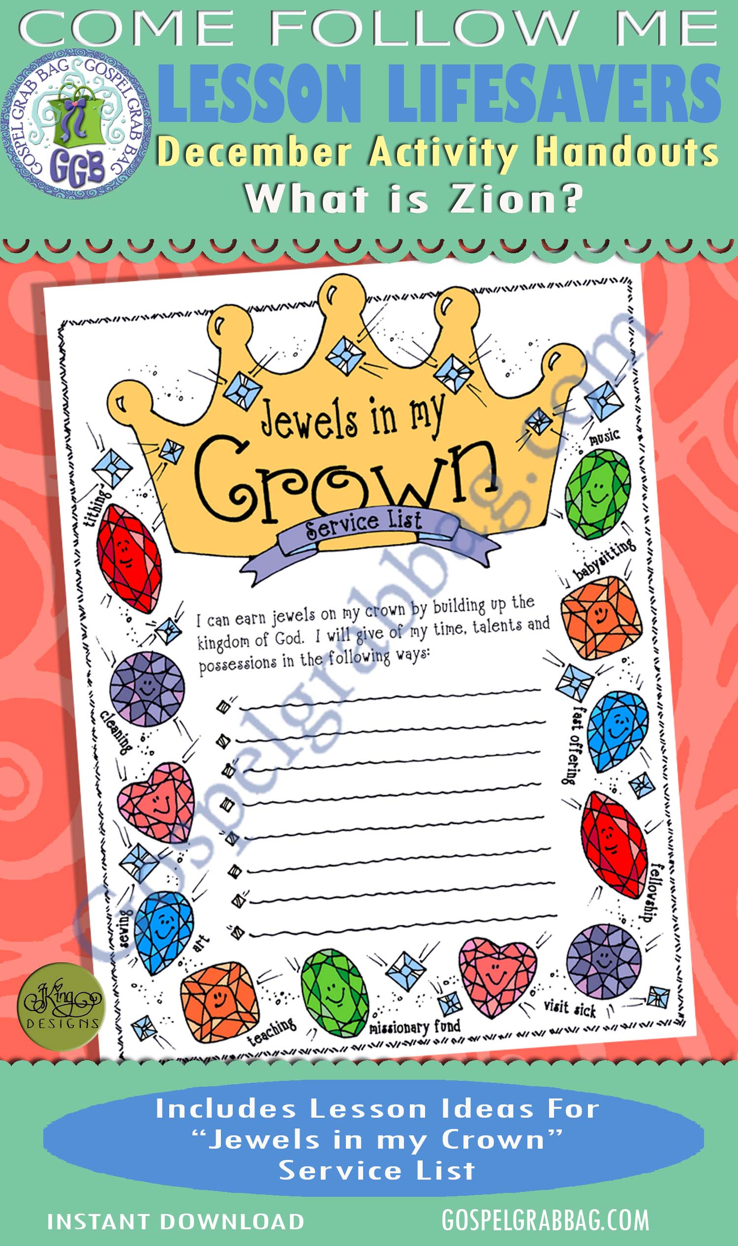 "$1.75 December Lesson 6 - Come Follow Me ""What is Zion?"" ACTIVITY: Jewels in My Crown service list"