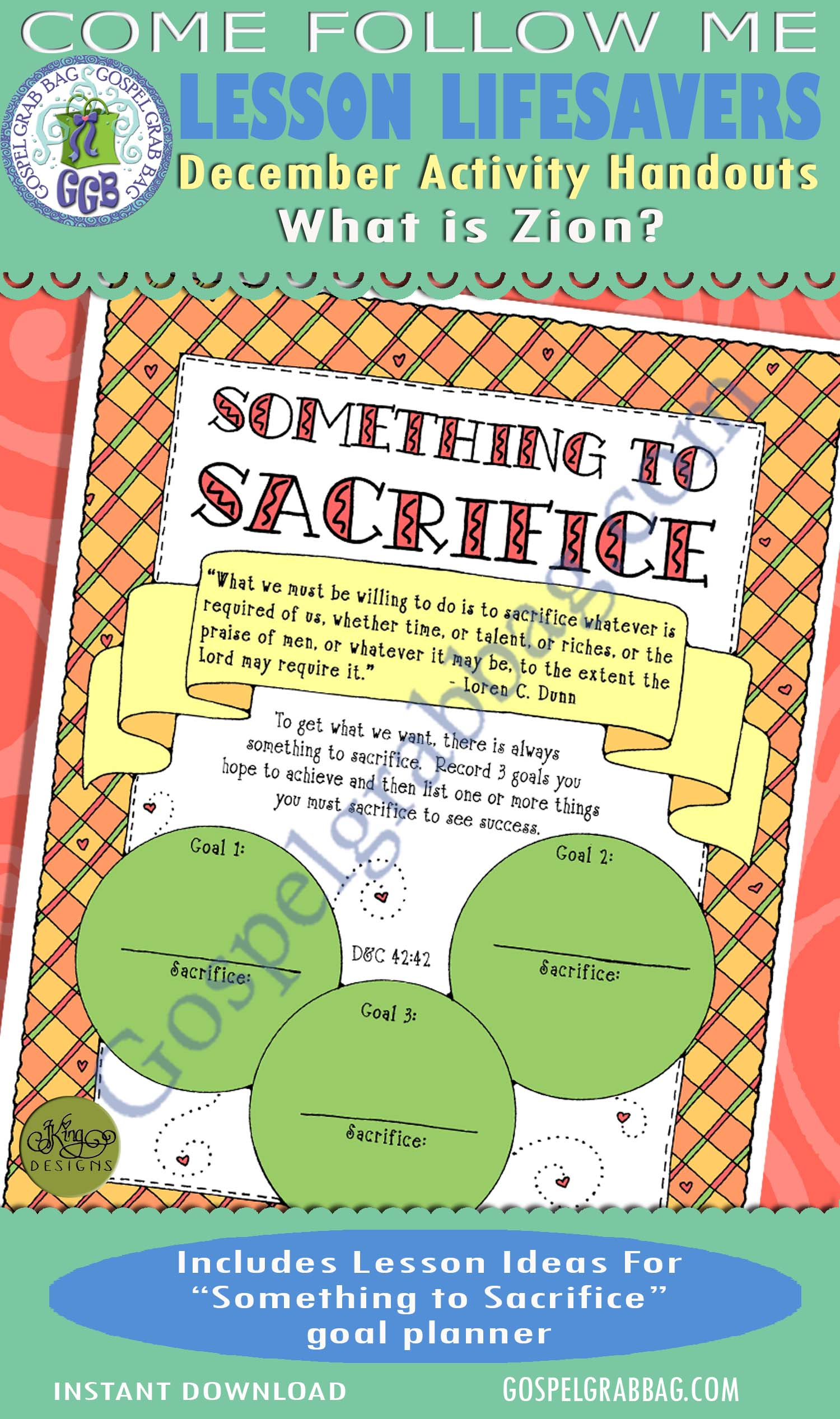 "$1.75 December Lesson 6 - Come Follow Me ""What is Zion?"" ACTIVITY: Something to Sacrifice goal planner"