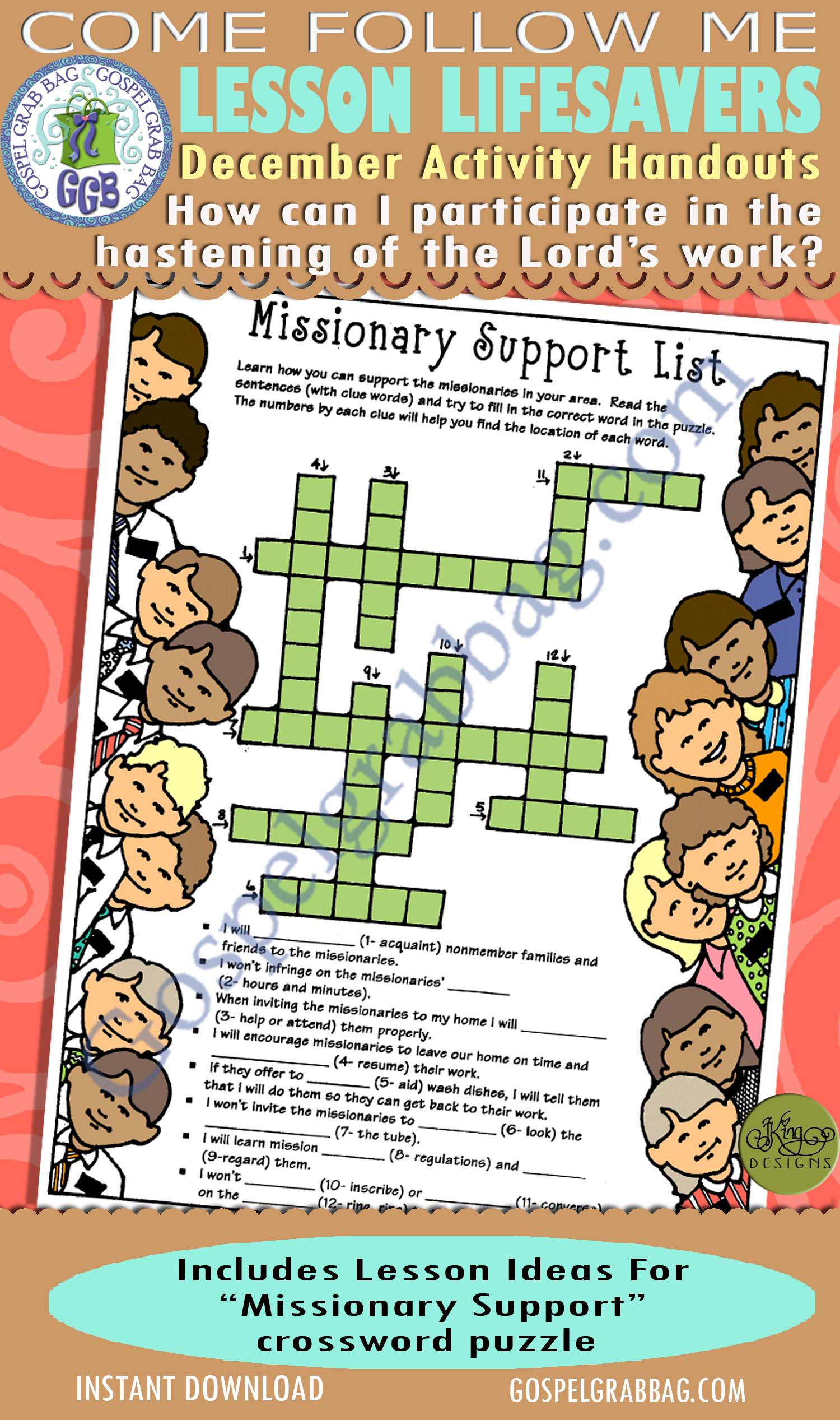 "$4.00 December Lesson 7 - Come Follow Me ""How can I participate in the hastening of the Lord's work?"" ACTIVITY: Missionary Support crossword puzzle"