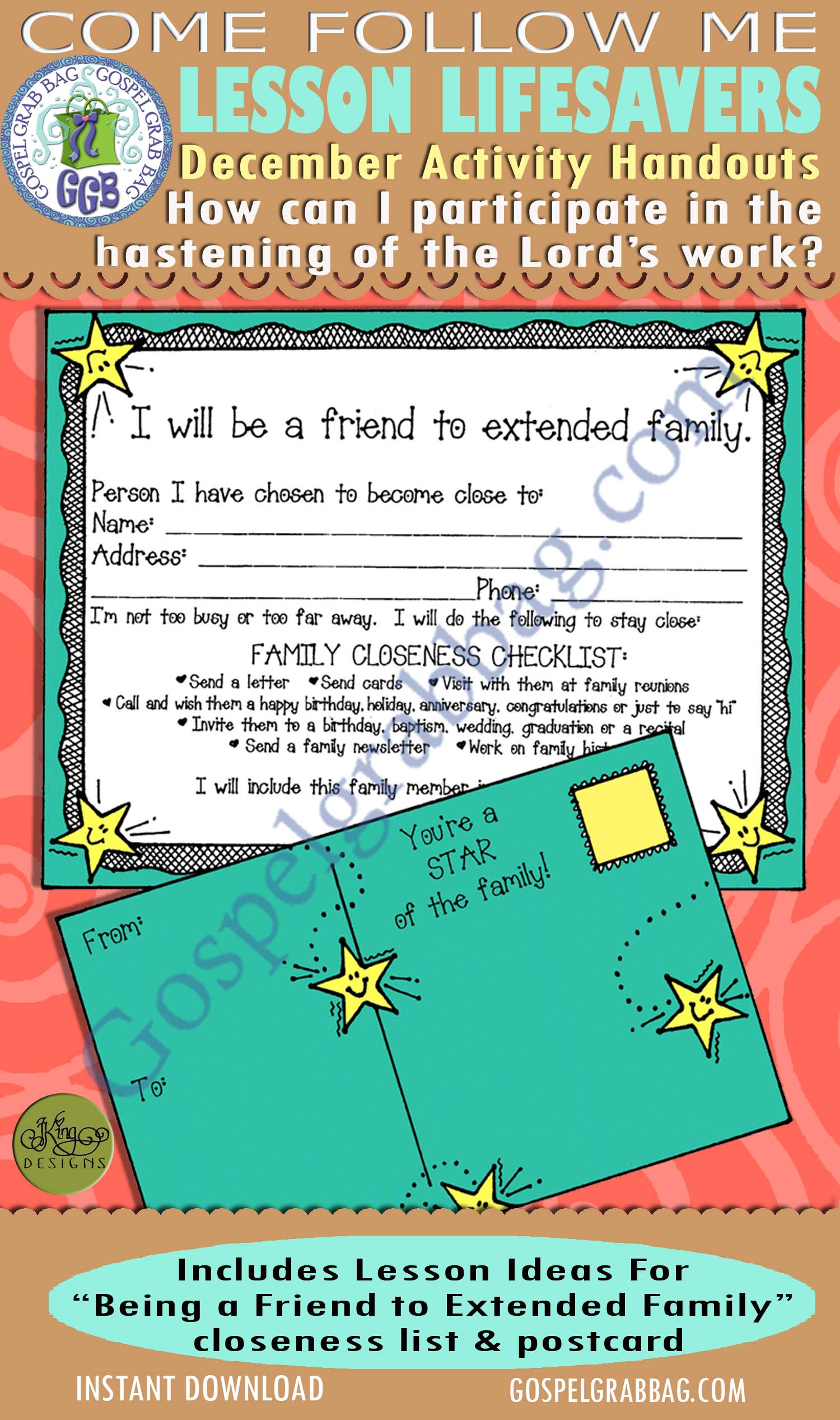 "$1.75 December Lesson 7 - Come Follow Me ""How can I participate in the hastening of the Lord's work?"" ACTIVITY: Being a Friend to Extended Family Closeness checklist and postcard"