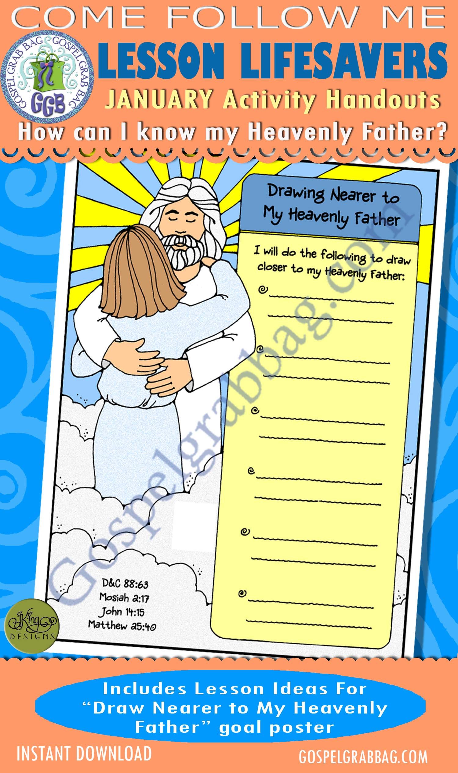 """$1.75 January Lesson 2 - Come Follow Me """"How do I know my Heavenly Father?"""" ACTIVITY: Drawing Nearer to My Heavenly Father goal poster"""