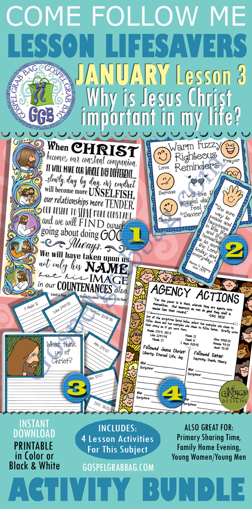 """$4.00 January Lesson 3 - Come Follow Me """"Why is Jesus Christ important in my life?"""" BUNDLE"""