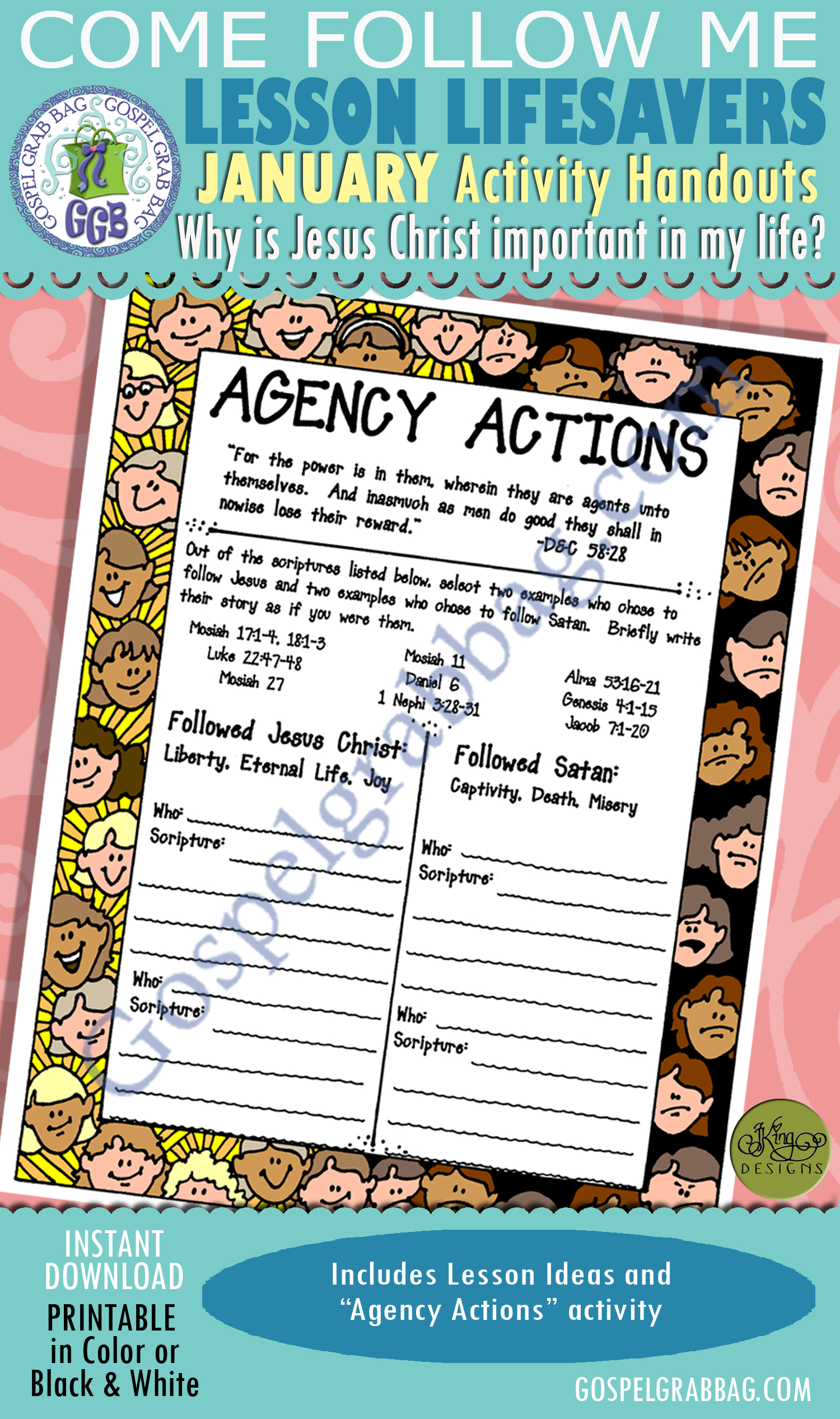 """$1.75 January Lesson 3 - Come Follow Me """"Why is Jesus Christ important in my life?"""" ACTIVITY: Following Jesus - Agency Actions scripture challenge"""
