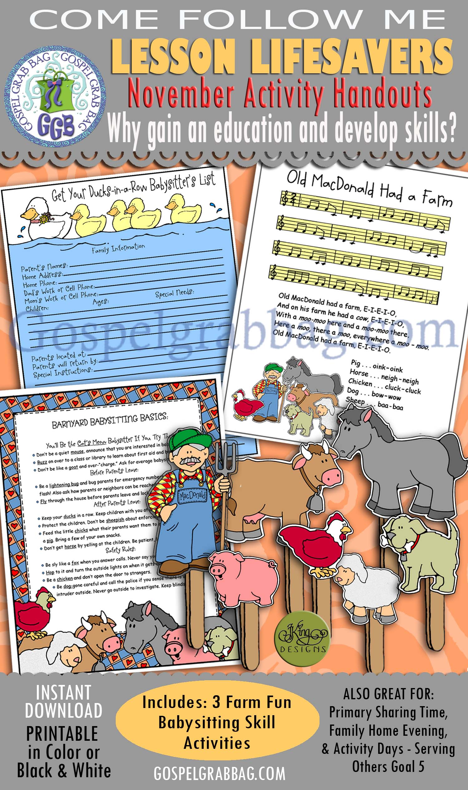 "$4.00 KIT: Come Follow Me November ""Why is it important to gain an education & develop skills?"" CHILD CARE: Babysitting Basics: Ducks-in-a-Row List, Old MacDonald Song, Basics & Puppet Show"