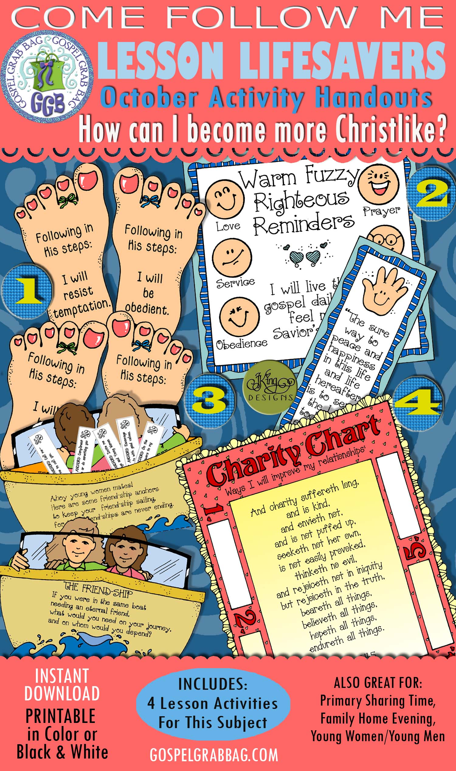 BE CHRISTLIKE - FOLLOW JESUS, Come Follow Me, OCTOBER Theme 1 How can I become more Christlike? 4-Activities KIT-Bundle