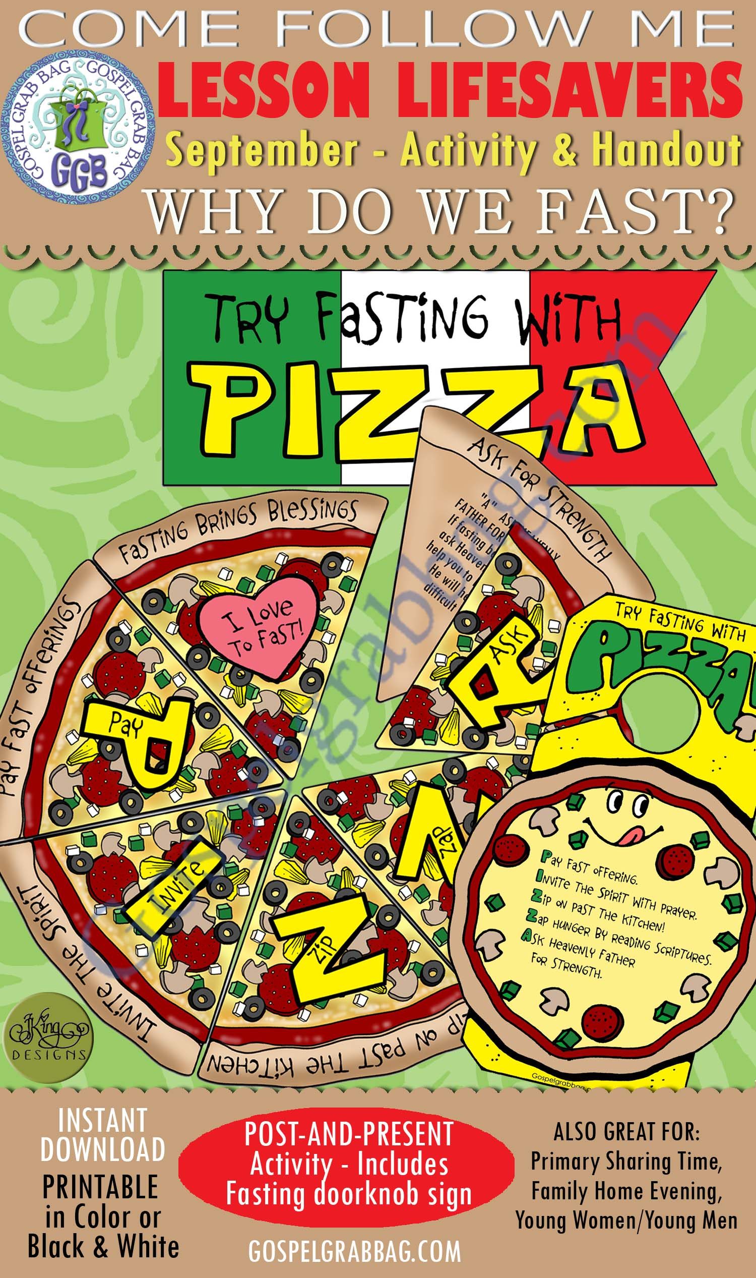 "$3.50 FASTING Activity: ""Fasting with Pizza"" game and doorknob reminder - COME FOLLOW ME September Week 4 Lesson Follow Me, ""Why do we fast?"""