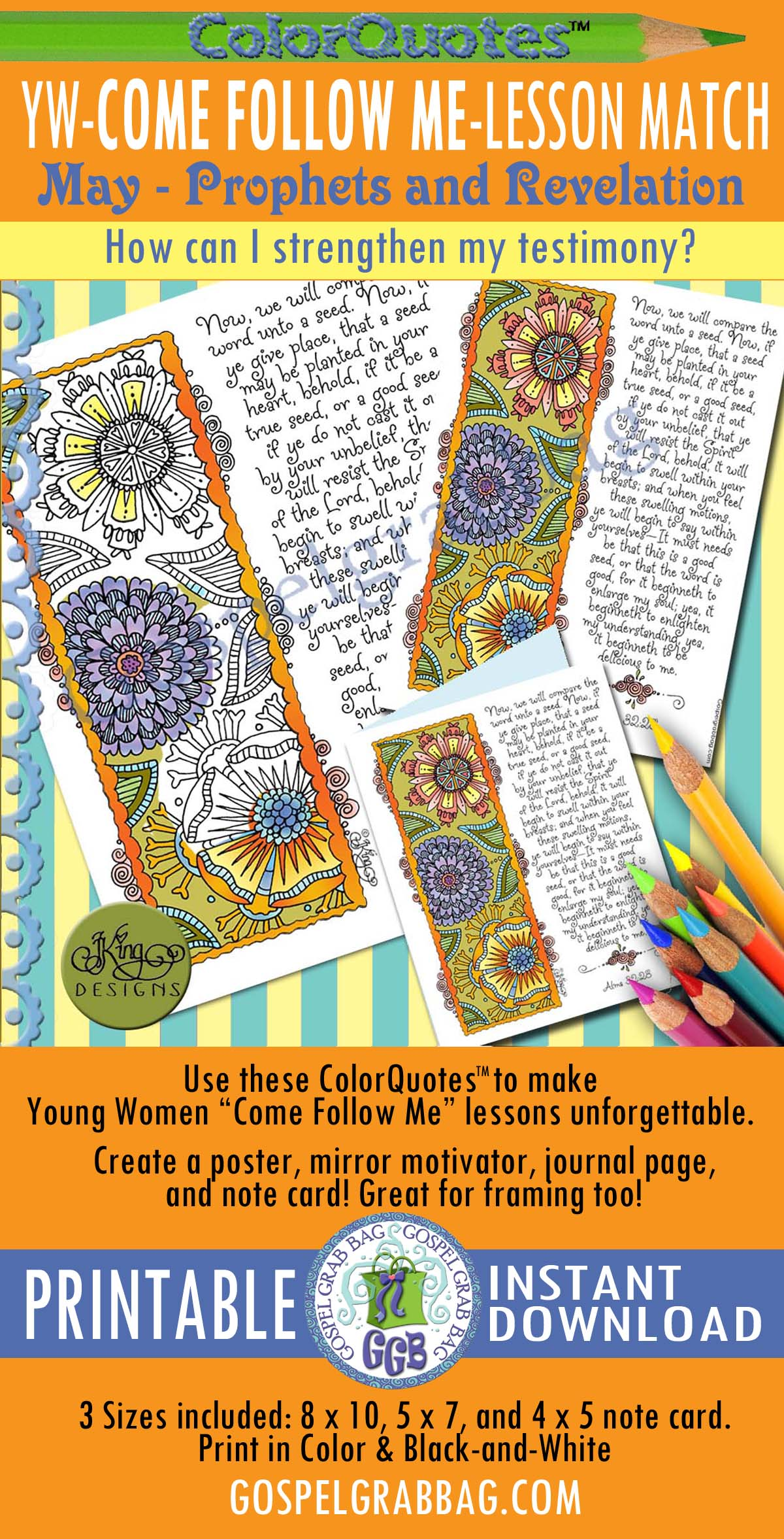 "Quotes to Color - ColorQuotes for May Theme: Prophets and Revelation PRINTABLES, LESSON 5 How can I strengthen my testimony?, printables, GospelGrabBag.com, Alma 32:28 ""Now, we will compare the word unto a seed. Now, if ye give place, that a seed may be planted in your heart, behold, if it be a true seed . . ."""