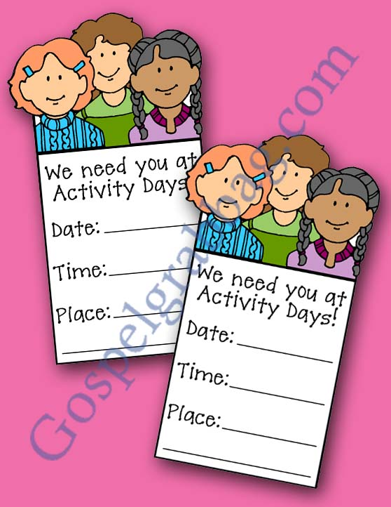 $2.50 set – PREPARE ACTIVITY DAY GIRLS FOR YOUNG WOMEN and personal progress, Set includes: 1 invitation and set of 5 different planner forms, gospelgrabbag.com