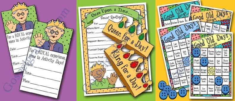 $2.00 - SERVING SENIORS: LDS Activity Days – Serving Others – Goal 7, parent-child activity, senior spotlight, good old days bingo, family home evening, gospelgrabbag.com