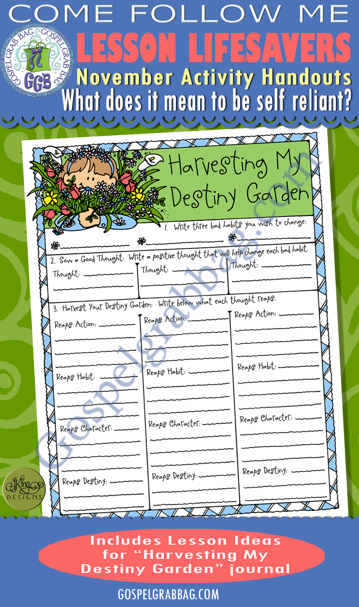 $1.75 or BUNDLE: Come Follow Me November Lesson: What does it mean to be self-reliant? ACTIVITY: Harvesting Myk Destiny Garden habit changer, LDS printables, GospelGrabBag.com