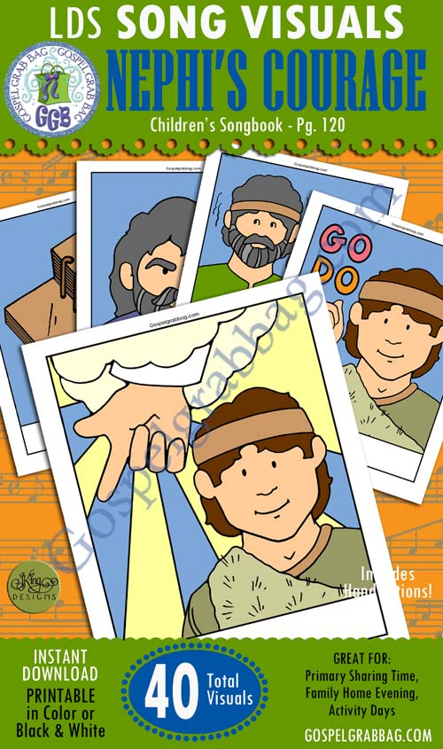 NEPHI'S COURAGE: Primary Song Visuals to print in color, ready-to-use – SONG: Nephi's Courage, Children's Songbook, 120-121 – You'll find a picture for every verse – Illustrated by Jennette Guymon-King, Author, Mary H. Ross, music leaders use visuals to teach children songs for the Sacrament Meeting Presentation – practice songs - Singing Time Visuals to DOWNLOAD from gospelgrabbag.com