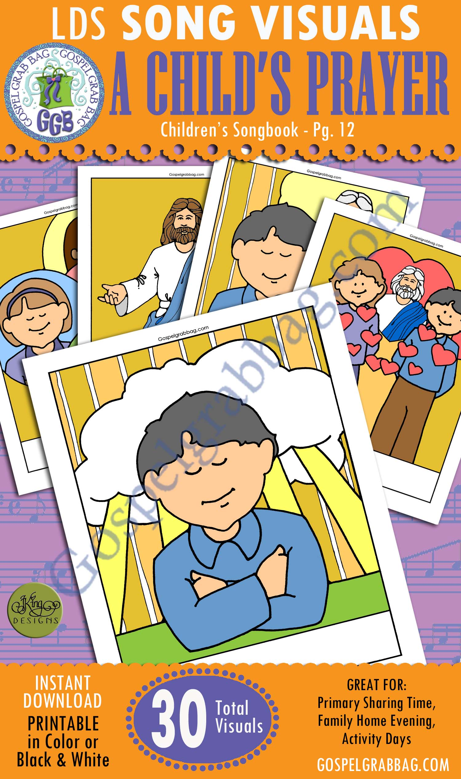 A CHILD'S PRAYER: Primary Song Visuals to print in color, ready-to-use – Illustrated by Jennette Guymon-King, Author, Mary H. Ross, music leaders use visuals – practice songs - Singing Time Visuals to DOWNLOAD