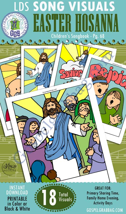 """$3.00 Easter/Resurrection - """"Easter Hosanna?"""" Children's Songbook p. 68 Song Visuals for Primary Music practice songs, LDS Primary, Primary Sharing Time, Family Home Evening, GospelGrabBag.com"""