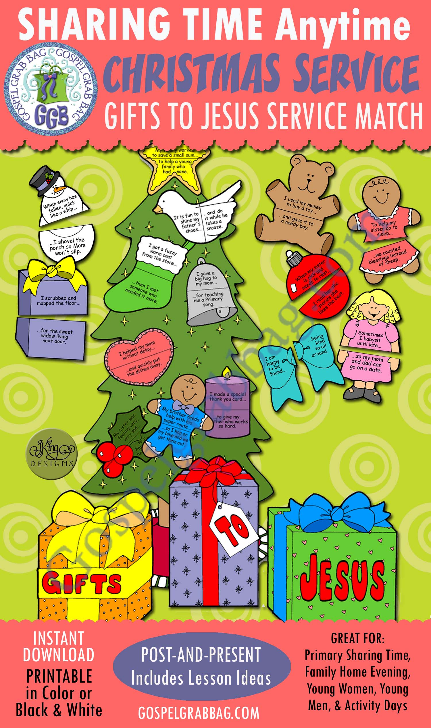 $3.50 CHRISTMAS: Gifts to Jesus - Seek-and-Service Match Game, Also Singing Fun Activity pick-a-song