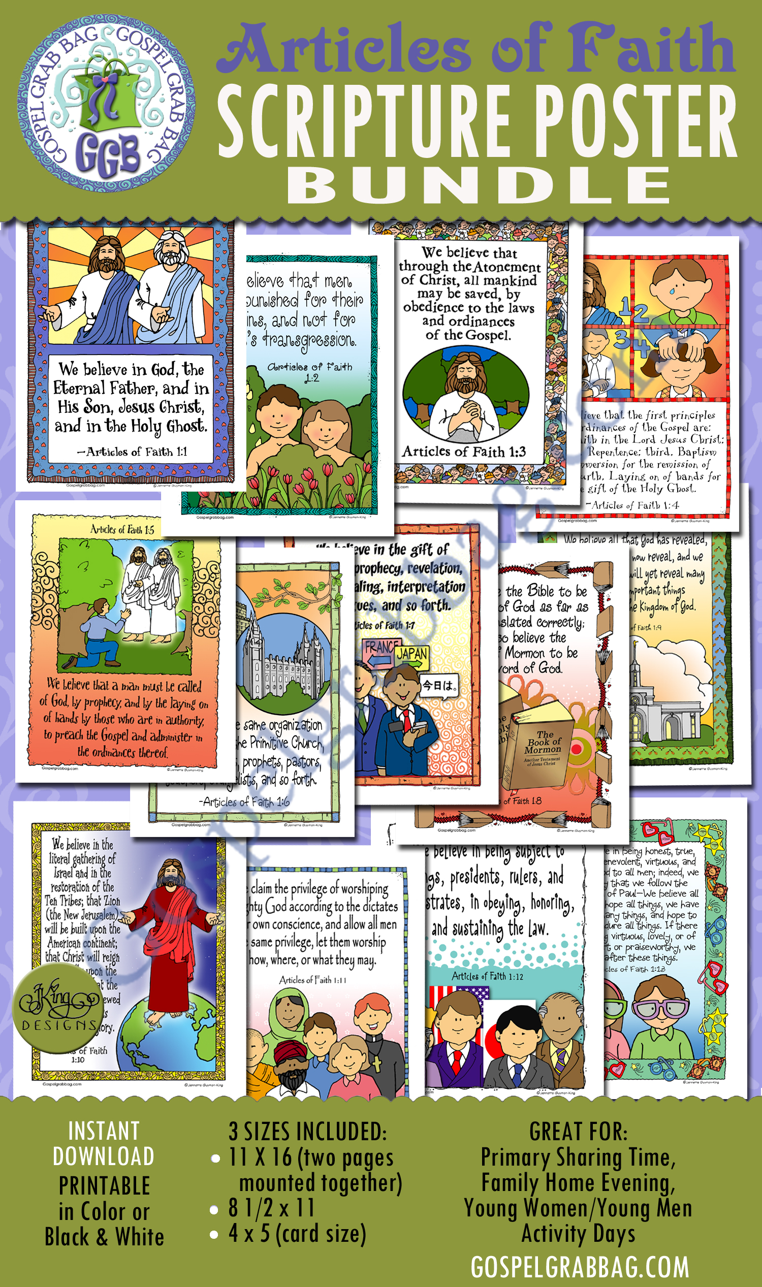 13 Articles of Faith BUNDLE, printables to download from GospelGrabBag.com