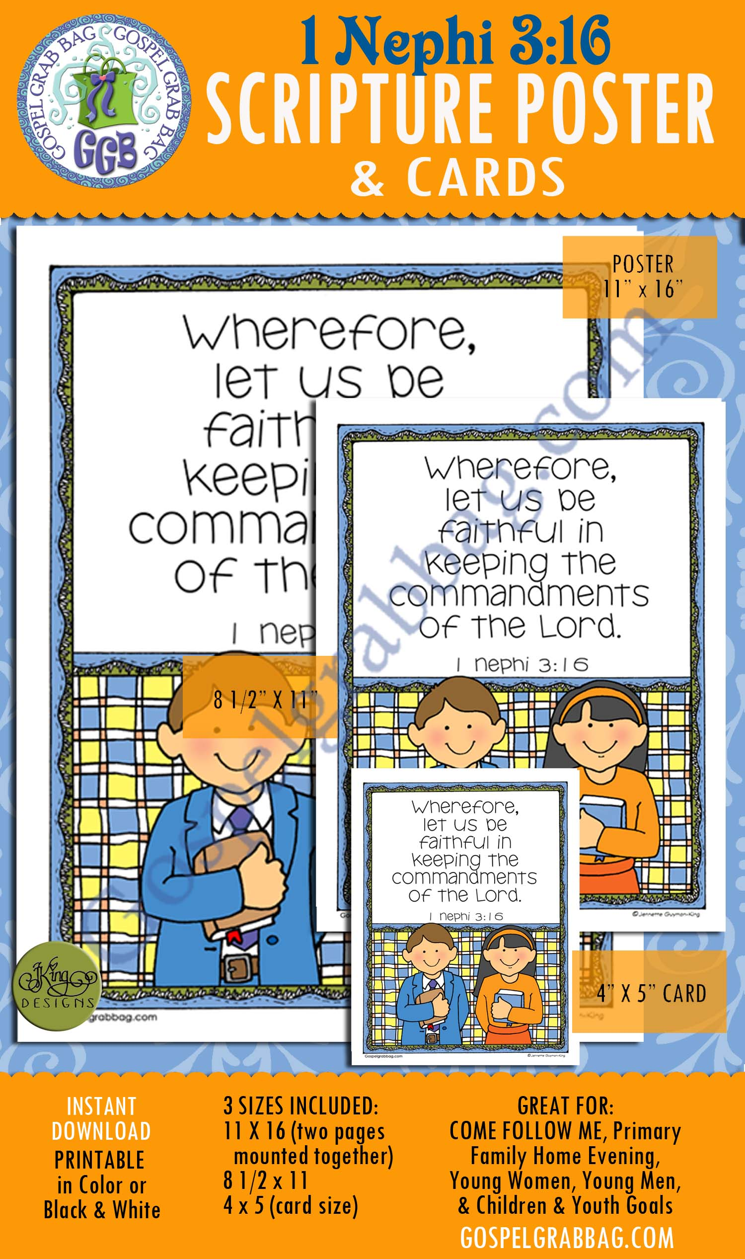 "$0.75 - Choose the Right: Scripture Poster, 1 Nephi 3:16, LDS Lesson Activity for: Primary, Youth, and Family Home Evening, ""Wherefore, let us be faithful in keeping the commandments of the Lord."" Choose the right by living gospel principles. gospelgrabbag.com"