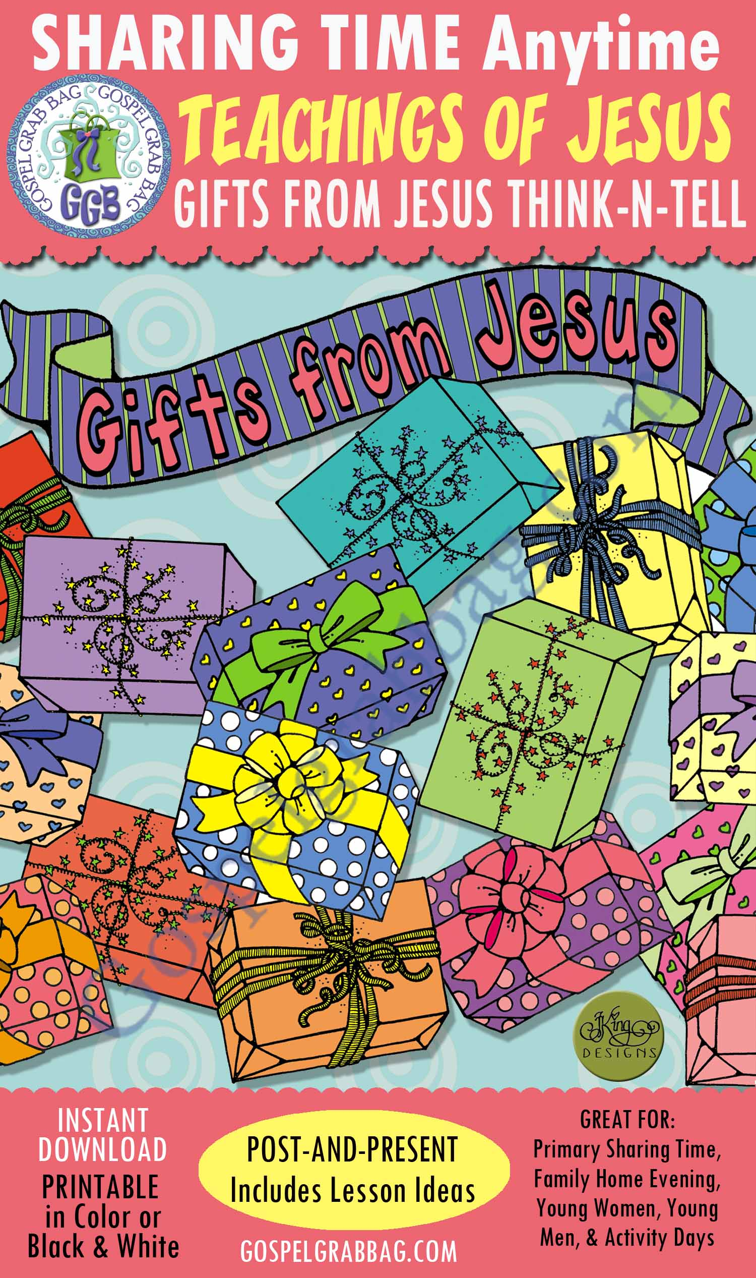 """$3.50 December Sharing Time Lesson for Week 1 Theme: """"Heavenly Father Sent His Son to the Earth"""" ACTIVITY: Gifts from Jesus Think-and-Tell POST-AND-PRESENT, Use For: Primary Sharing Time, Family Home Evening, Come Follow Me, GospelGrabBag.com"""