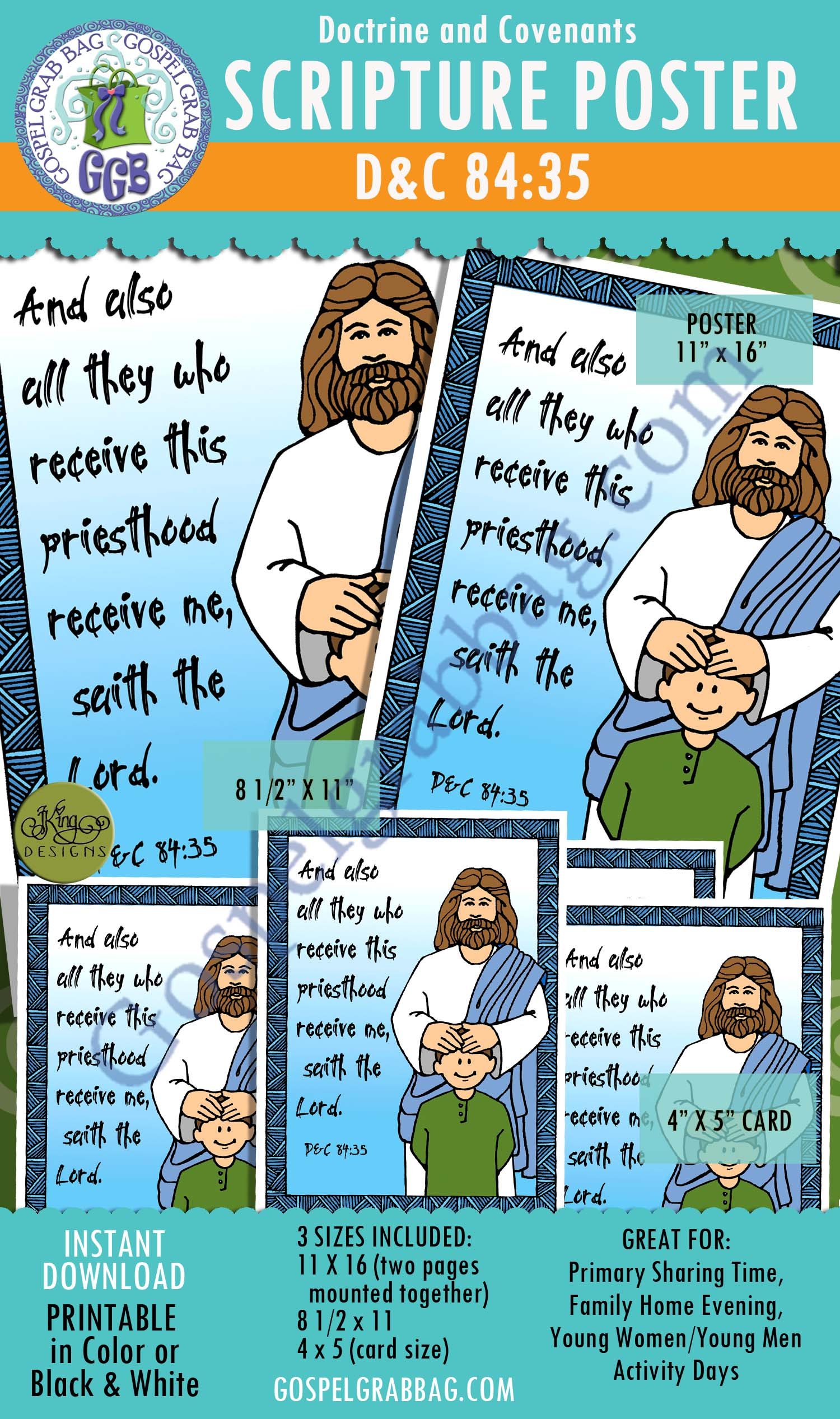 "$2.00 D&C 84:35 - SCRIPTURE POSTER AND CARDS, Priesthood, Jesus Christ, ""And also all they who receive this priesthood receive me, saith the Lord."" LDS Printables, GospelGrabBag.com"