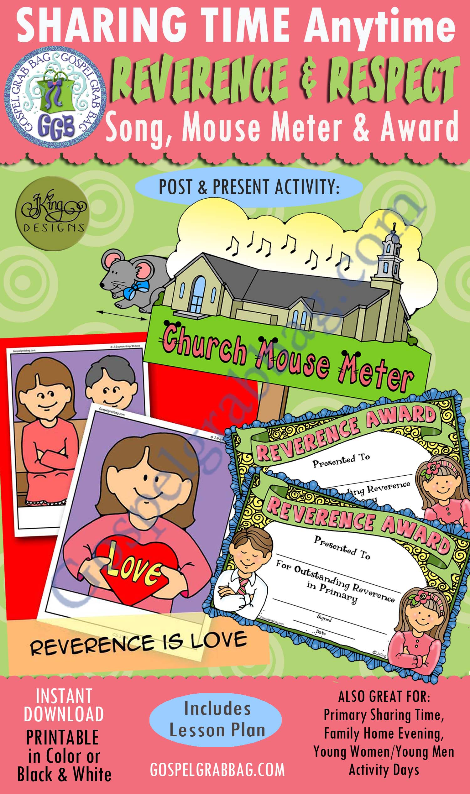 "Reverence and Respect KIT: ""Reverence Is Love"" song visuals, Church Mouse Meter, Reverence Award certificates. Primary Sharing Time, Family Home Evening, GospelGrabBag.com"