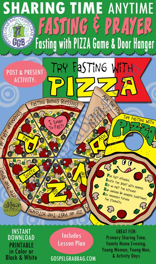 "FASTING & PRAYER: ""Try Fasting With Pizza"" Concentration / Match Game and Doorknob Fasting with Pizza Reminder, Primary Sharing Time, Family Home Evening, YW Come Follow Me, GospelGrabBag.com"