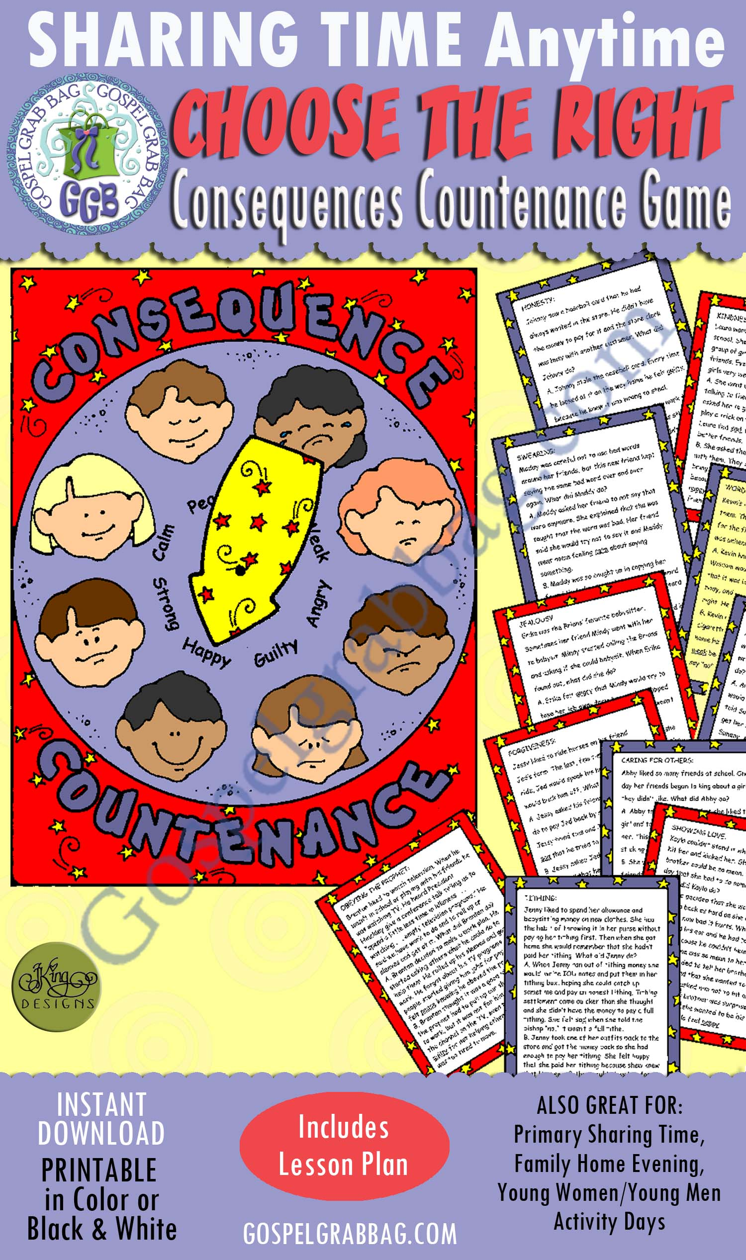 $3.50 Choices – Choose the Right: Consequences Countenance Game, January Sharing Time, Family Home Evening, Post-and-Present, LDS Printables, GospelGrabBag.com