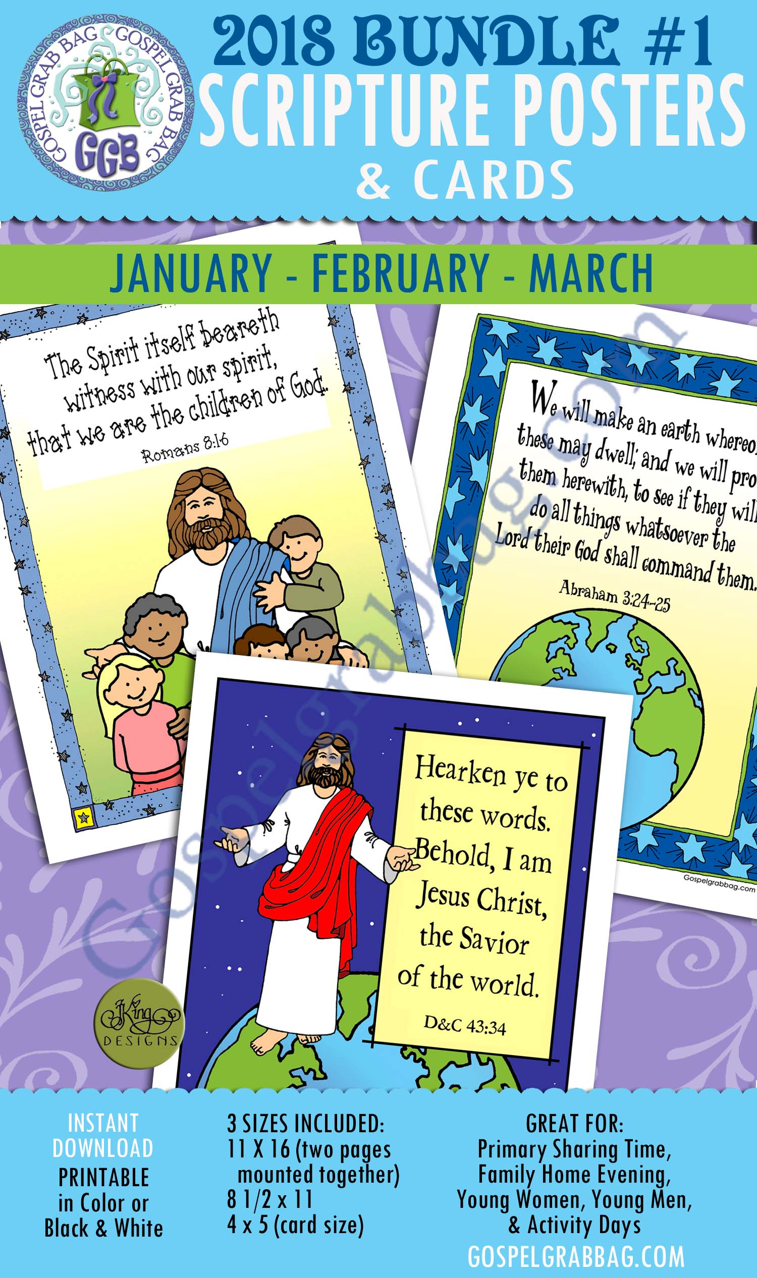 $4.00 Bundle #1 Scripture Posters & Cards: January - Romans 8:16; February - Abraham 3:24; March D&C 43:34 - INSTANT DOWNLOAD, GospelGrabBag.com, Primary Sharing Time