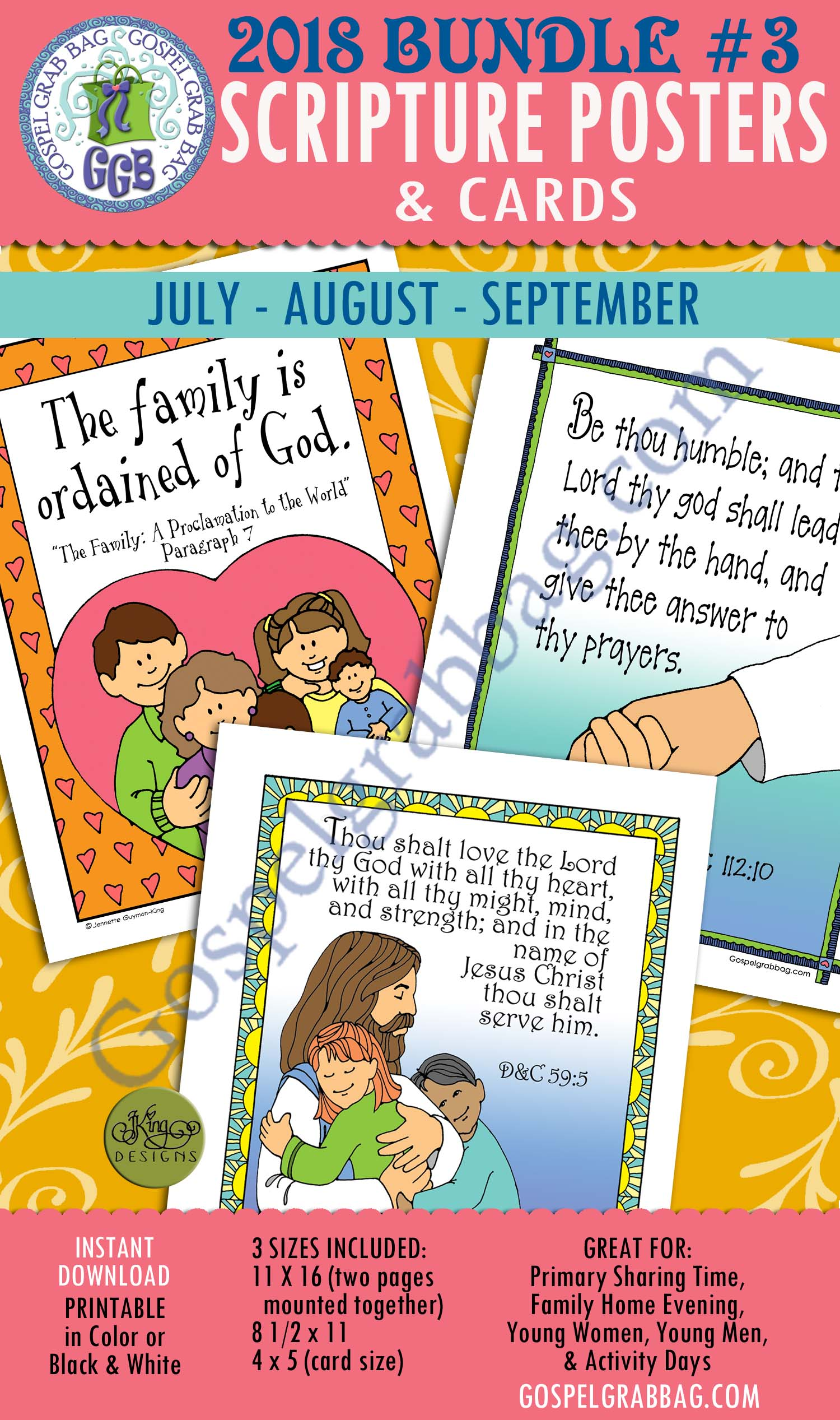 400 BUNDLE 3 Scripture Posters Cards For Sharing Time July August