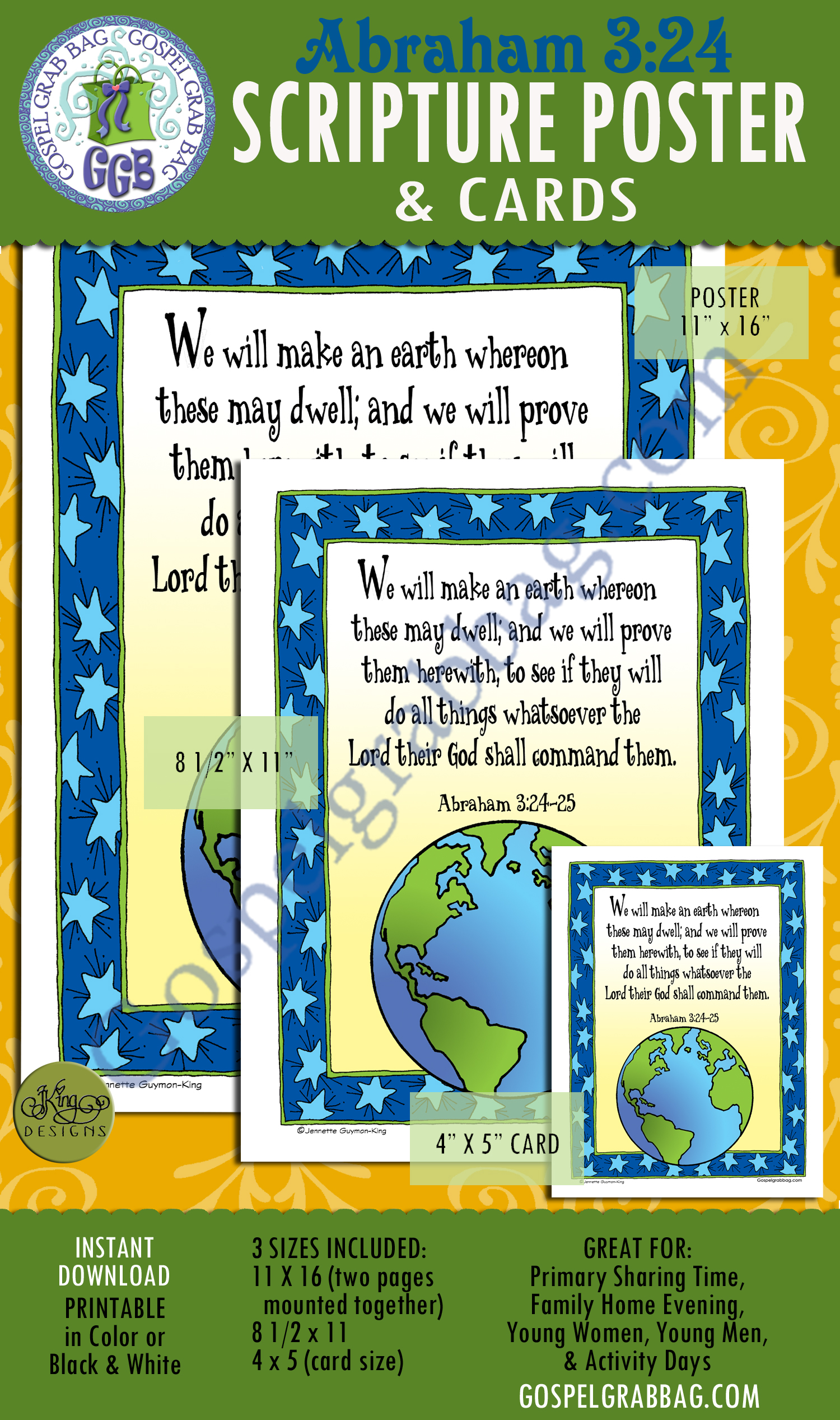 Abraham 43:24-25 SCRIPTURE POSTER & CARDS, Creation, Plan of Salvation, Primary Sharing Time, Come Follow Me, GospelGrabBag.com