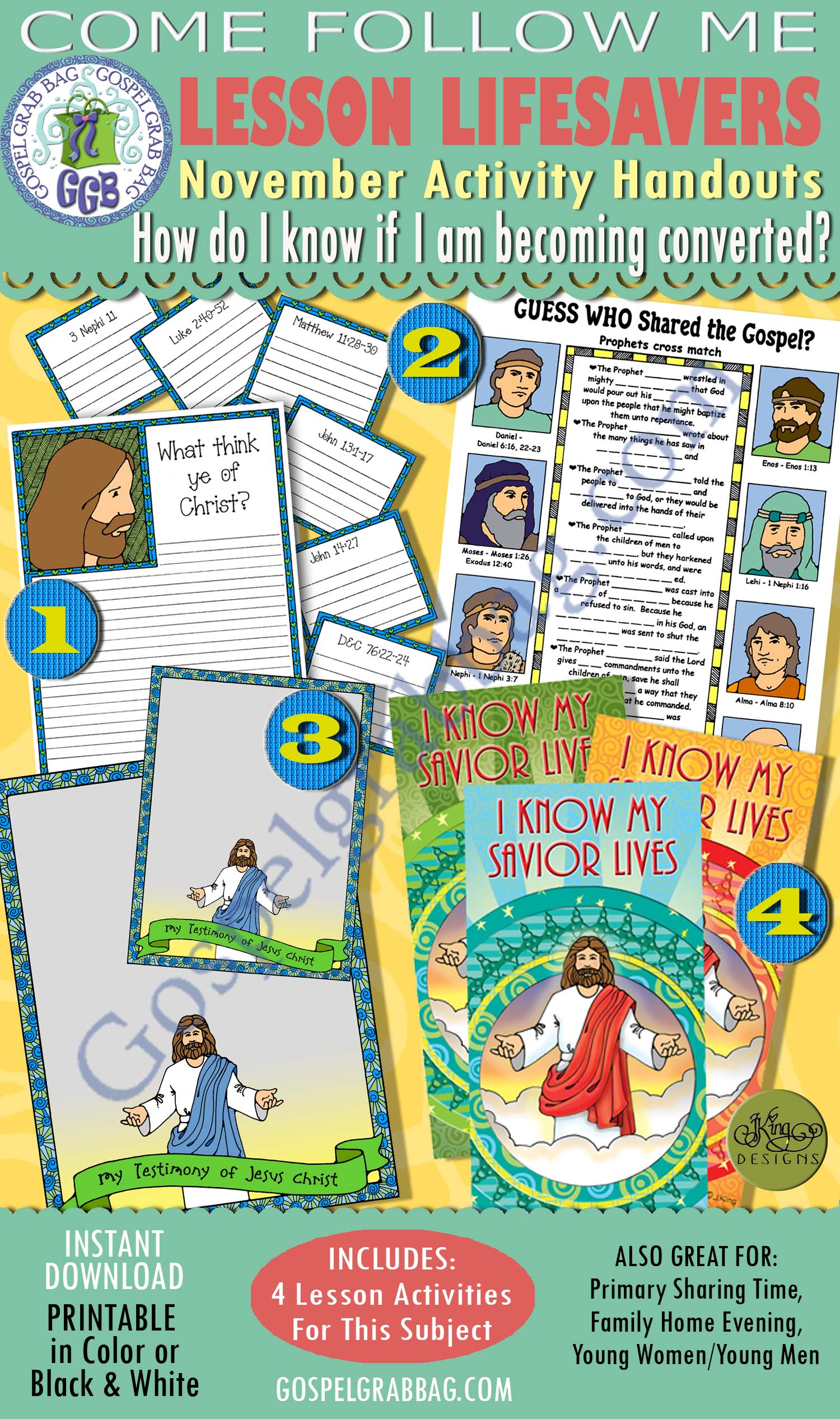 "$4.00 Nov. Lesson 2 - Come Follow Me ""How do I know if I am becoming converted? BUNDLE - 4 Lesson Activities"