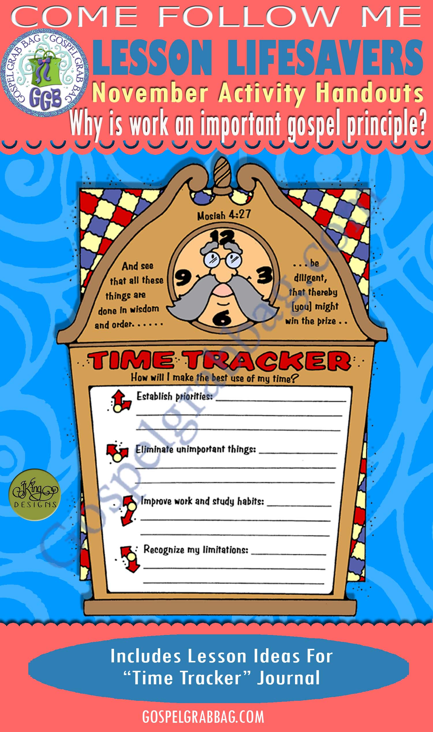 "$1.75 SELF-RELIANCE - GOALS: Come Follow Me November Lesson 4 ""Why is work an important gospel principle?"" Activity: Time Tracker journal"
