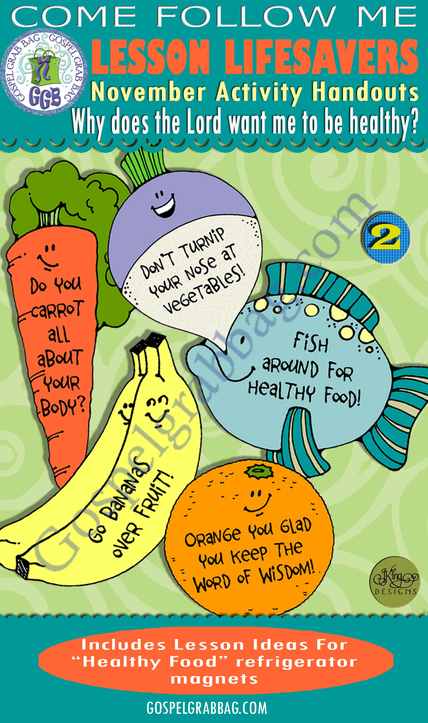 "$1.75 November Lesson 5 - Come Follow Me ""Why does the Lord want me to be healthy?"" ACTIVITY: Healthful Food Refrigerator magnets"