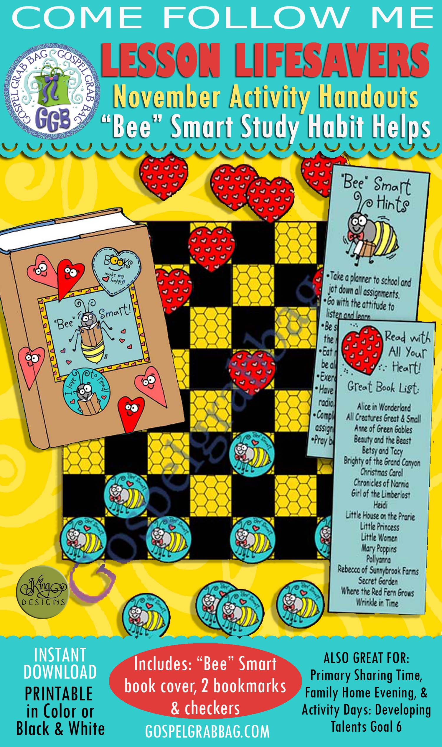 "$4.00 BUNDLE Come Follow Me, November Lesson 3 Develop Education Skills - ACTIVITY ""Bee"" Smart Read with All Your Heart book cover, bookmarks, and checkers"