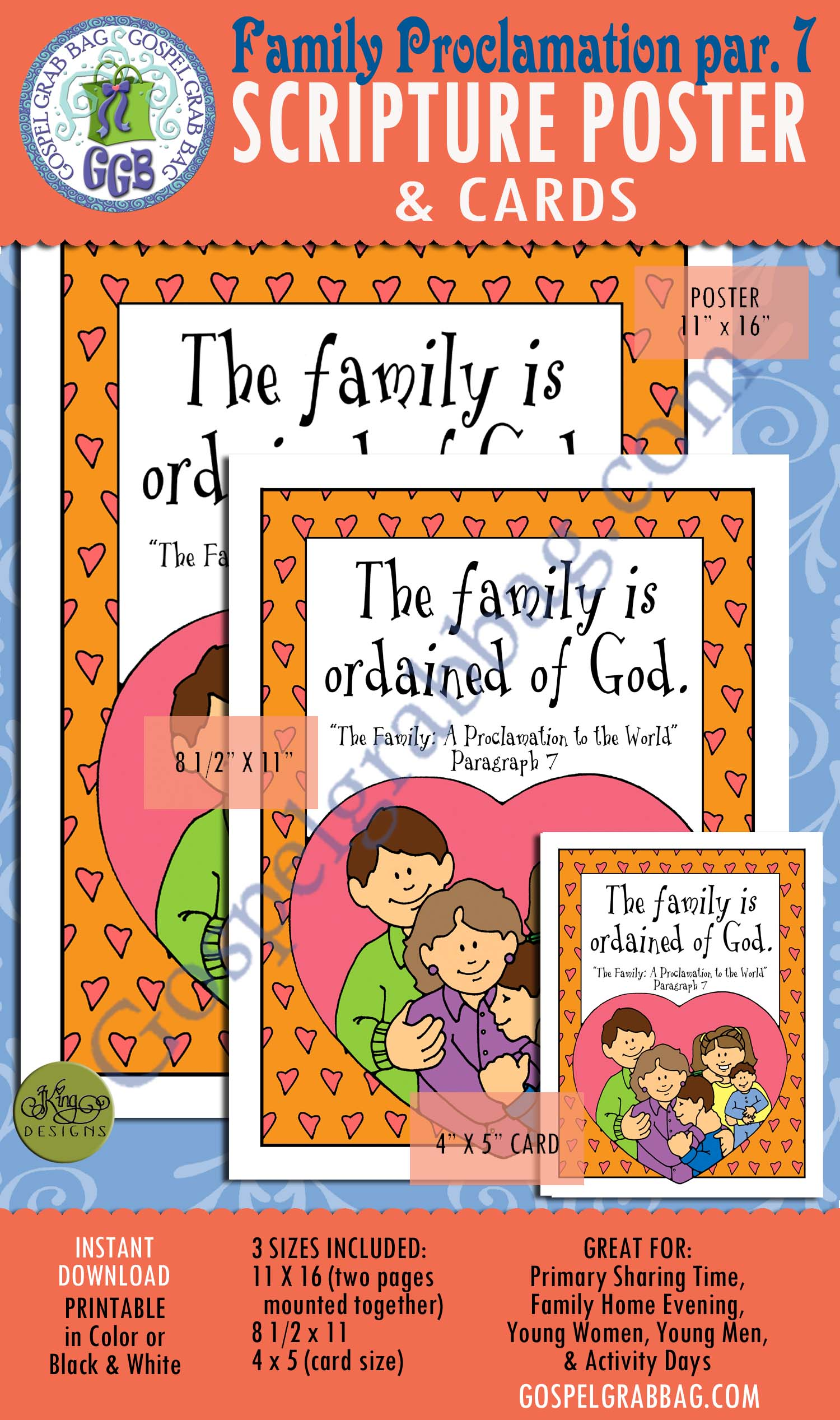 """""""The Family: A Proclamation to the World"""" SCRIPTURE POSTER & CARDS, Primary Sharing Time, Come Follow Me, Family Home Evening, Family, Plan of Salvation, GospelGrabBag.com"""