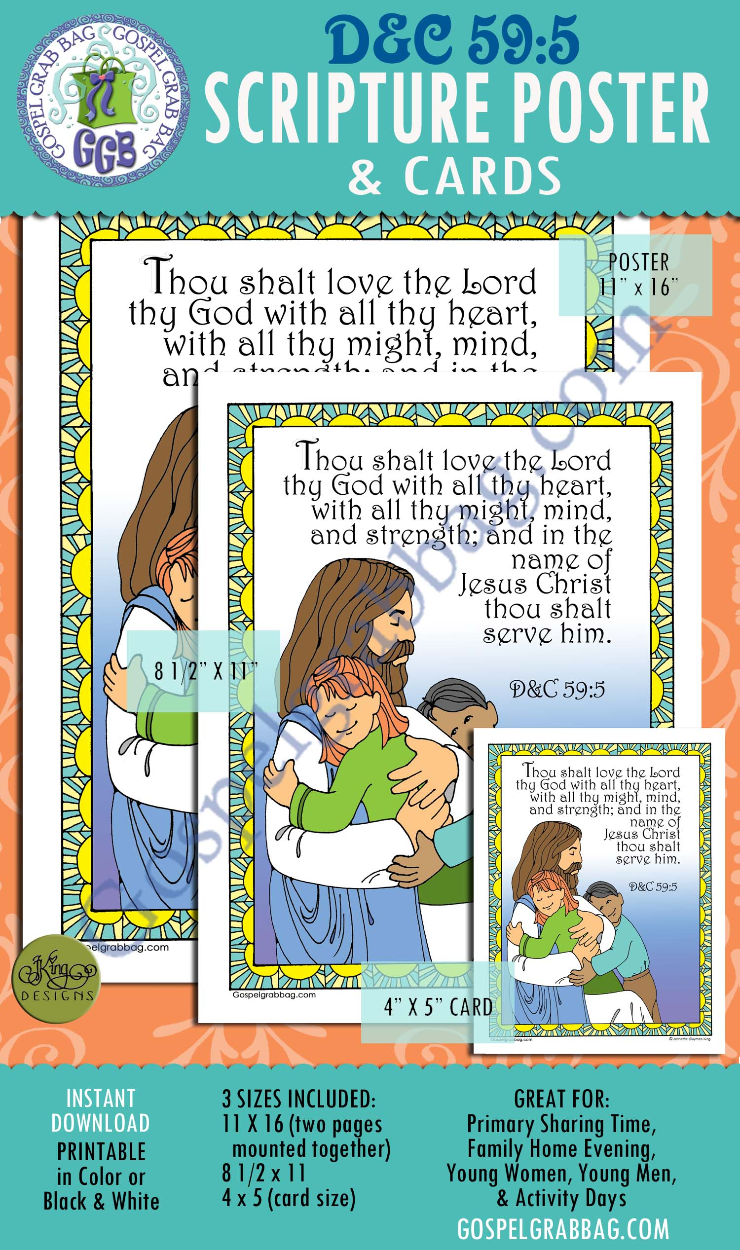 D&C 59:5 SCRIPTURE POSTER & CARDS, Primary Sharing Time, Come Follow Me, Family Home Evening, love and respect God