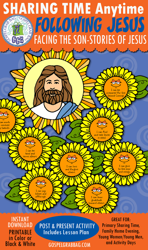 """$3.50 December Week 2 Primary Sharing Time THEME: Jesus Grew in Wisdom and Stature and in Favor with God and Man"""" ACTIVITY: """"Facing the Son - Stories of Jesus"""""""