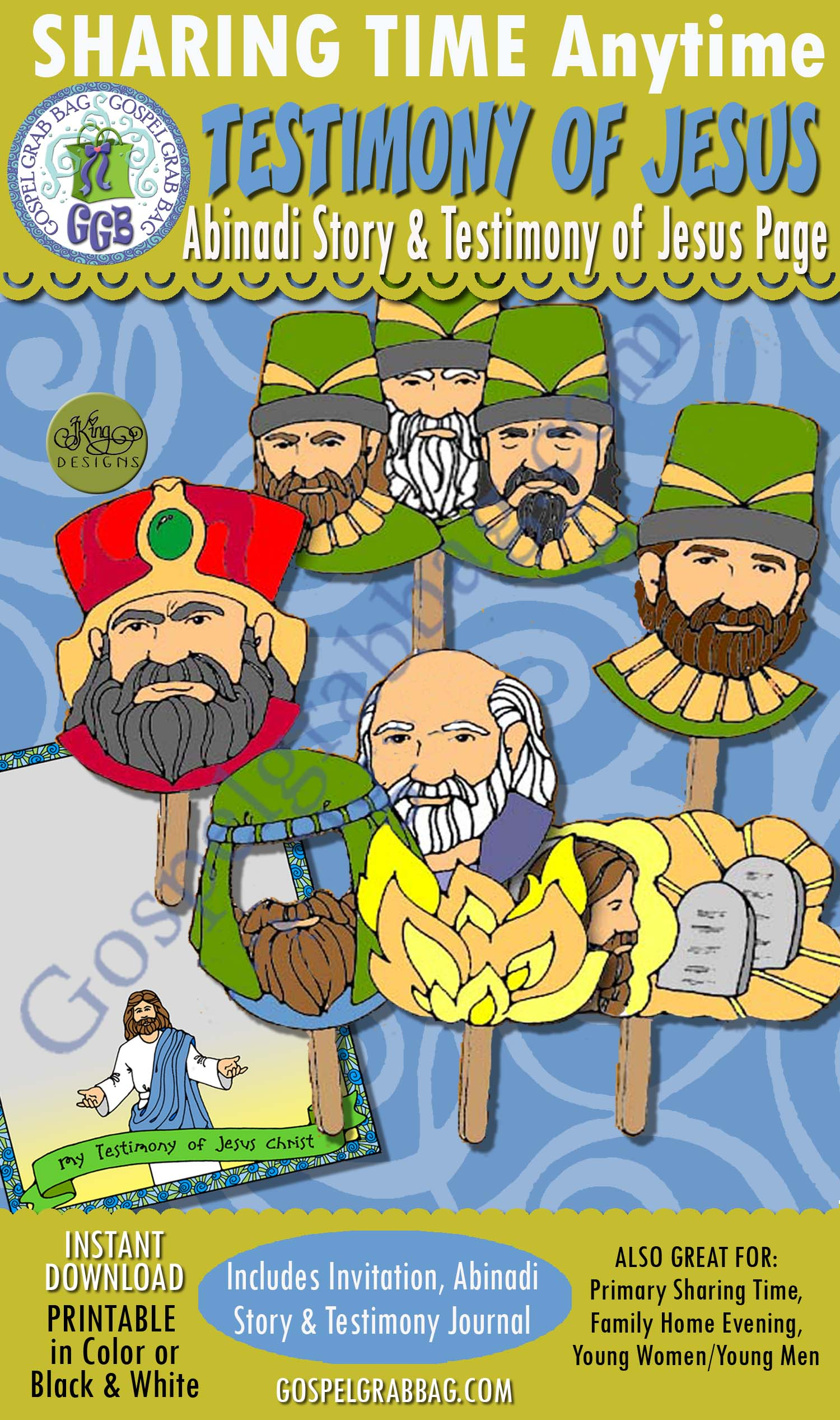 """$3.50 December Sharing Time Lesson for Week 1 Theme: """"Heavenly Father Sent His Son to the Earth"""" ACTIVITY: Abinadi Puppet Show and Testimony of Jesus Page POST-AND-PRESENT, Use For: Primary Sharing Time, Family Home Evening, Come Follow Me, GospelGrabBag.com"""
